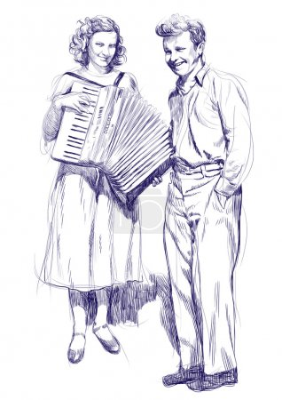 Photo for Woman with an accordion and a young man - hand drawing - Royalty Free Image