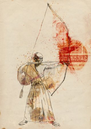 """Photo for Kyudo - modern Japanese martial art. A hand drawn illustration of an Samurai shooting an arrow from a bow (""""the Archer"""") - Royalty Free Image"""