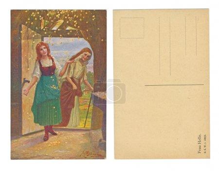 Photo pour LEIPZIG, ALLEMAGNE, CIRCA 1910 - Publié par B. K. W. 1 398 - 2, Frau Holle - Mrs. Holle, (nom de l'ancienne déesse germanique) - Vers 1910 - image libre de droit