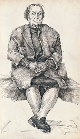 Photo for Hand drawing picture, pen and ink, sitting woman - Royalty Free Image