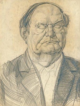 Photo pour Illustration dessinée à la main - portrait d'un inconnu - image libre de droit