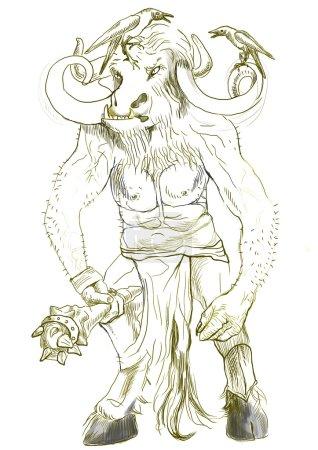 An hand-drawn illustration in ancient Greek myths ...
