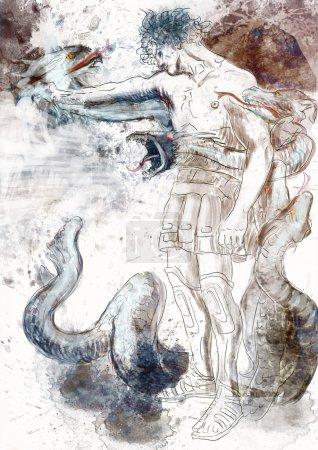 Photo for Hercules - Slay the nine-headed Lernaean Hydra. - Royalty Free Image