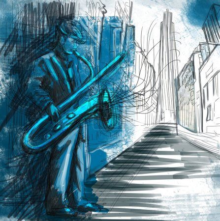 Photo for Saxophone player - A hand drawn illustration of an musician playing saxophone on the night street - Royalty Free Image