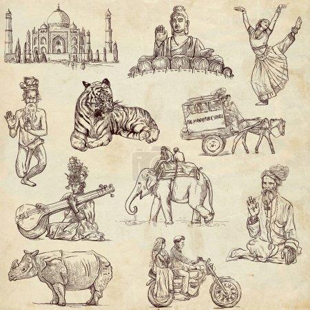 Foto de Serie de viaje: india - colección de ilustraciones de un dibujados a mano. - Imagen libre de derechos
