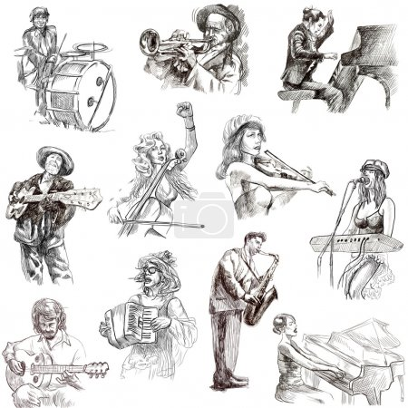 Photo for Musicians - Collection of an hand drawn illustrations. Description: Full sized, original, hand drawn illustrations isolated on white. - Royalty Free Image