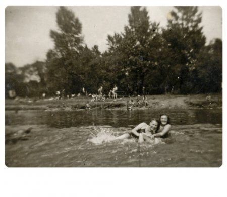 Girls bathing in the river