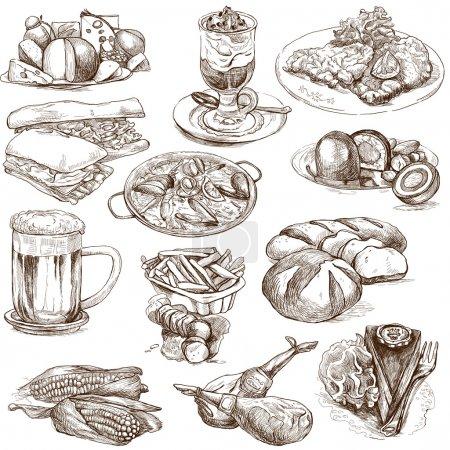 Photo pour Illustrations dessinées à la main, grandeur nature, en un seul grand ensemble - Nourriture et boissons dans le monde - image libre de droit