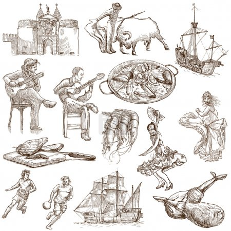Photo for Traveling series: SPAIN - Collection of an hand drawn illustrations. Description: Full sized hand drawn illustrations. - Royalty Free Image