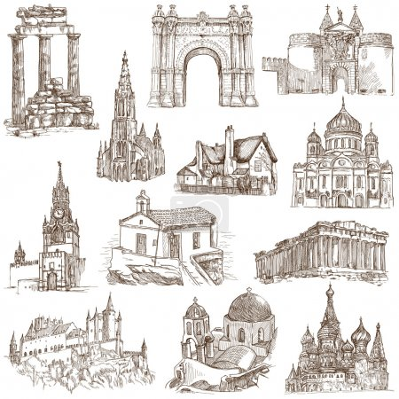 Photo for Famous places, buildings and architecture around the World (set no.5) - Collection of an hand drawn illustrations. Description: Full sized hand drawn illustrations. - Royalty Free Image