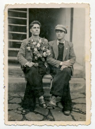 CENTRAL BULGARIA, BULGARIA - CIRCA 1945: Two young...
