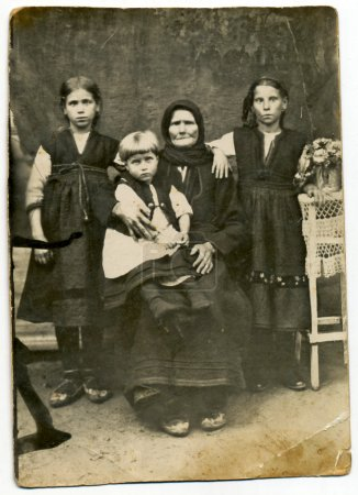 family in period dress