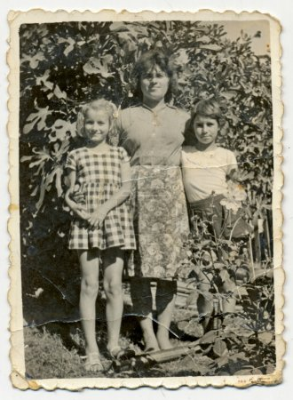 Woman and two unidentified children