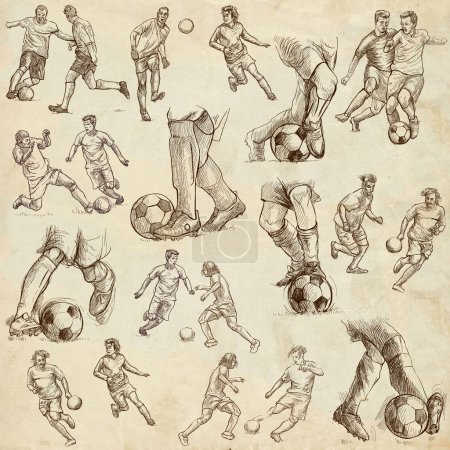 Photo for FOOTBALL - Soccer. Collection of an hand drawn illustrations. - Royalty Free Image