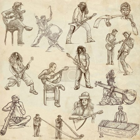 Photo for Music and Musicians around the World (set no.1) - Collection of an hand drawn illustrations. Description: Full sized hand drawn illustrations. - Royalty Free Image