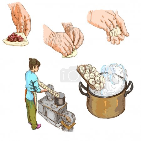 Photo for From the series: FOOD and DRINKS - PREPARE PASTA - Collection of an hand drawn and colored illustrations. Description: Full sized hand drawn illustrations drawing on white. - Royalty Free Image