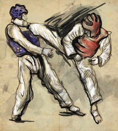 Tae-Kwon Do. An full sized hand drawn illustration on old paper.