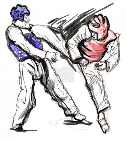 Tae-Kwon Do. An full sized hand drawn illustration