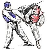 Tae kwon do. plné velikosti ručně tažené ilustrace