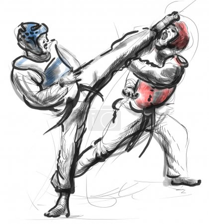 Tae-Kwon Do. An full sized hand drawn illustration