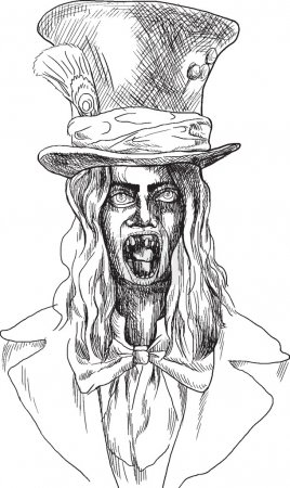 Illustration for Portrait of an undead (zombie, scary clown ...) , hand drawing converted into vector - Royalty Free Image