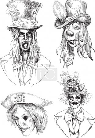 Illustration for A hand drawn illustration converted into vector: scary faces - Royalty Free Image