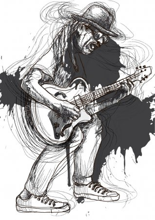 Illustration for A hand drawn illustration of an guitar player. - Royalty Free Image