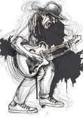 A hand drawn illustration of an guitar player