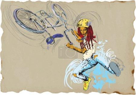 Illustration pour Jeune fille montrant tour de freestyle avec son vélo. Une illustration dessinée à la main convertie en vecteur. Description vectorielle : Pas plus de 16 couleurs dans chaque calque - modifiable en 6 calques . - image libre de droit