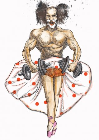 Illustration for Topic: Funny pictures. Ugly bodybuilder with dumbbells dressed as a ballerina rehearsing for the theater. - Royalty Free Image