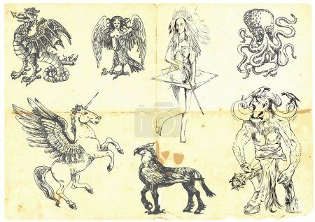 Illustration for Collection of mythical characters known from the ancient Greek myths. Hand drawings into vector, easy editable. - Royalty Free Image