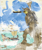 An hand drawn illustration - Greek Myths and Legends - Cyclops Giant
