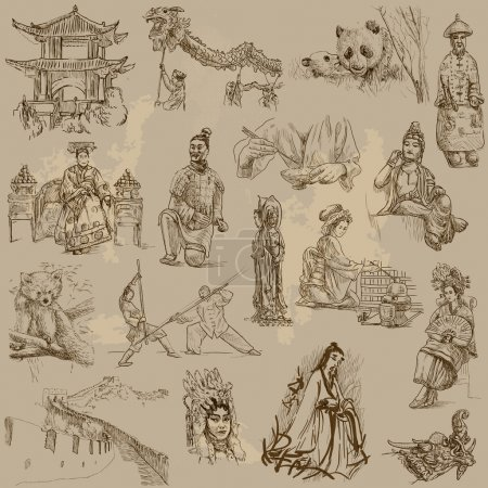 Illustration for Traveling series: CHINA - collection of an hand drawn illustrations. - Royalty Free Image
