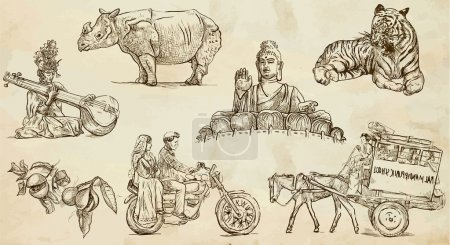 Illustration for Traveling series: INDIA and INDONESIA (set no.1) - Collection of an hand drawn illustrations. Description: Each drawing comprise two basic layers of outlines, colored background is isolated. - Royalty Free Image