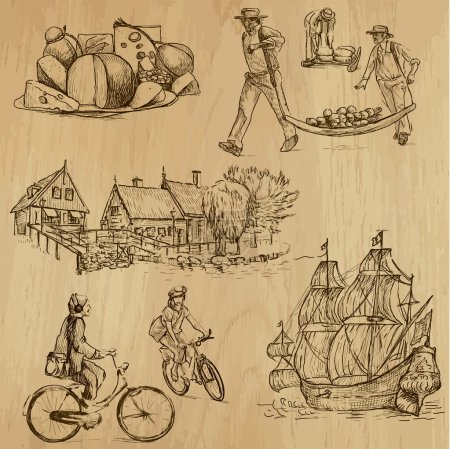 Illustration for Traveling series: HOLLAND (set no.2) - Collection of hand drawn illustrations (originals, no tracing). Description: Each drawing comprises two layers of outlines, the colored background is isolated. - Royalty Free Image