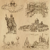 Traveling series: HUNGARY (set no3) - Collection of hand drawn illustrations (originals no tracing) Description: Each drawing comprises two layers of outlines the colored background is isolated