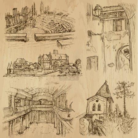Photo pour Lieux et architecture dans le monde (no.14) - Collection d'illustrations dessinées à la main (originaux, aucune trace). Chaque dessin comprend deux couches de contours, le fond coloré est isolé . - image libre de droit