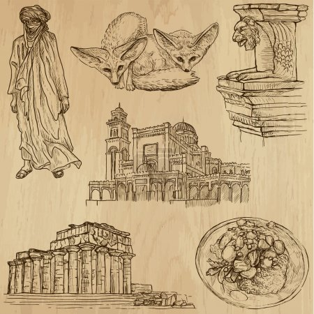 Illustration for Travel : LIBYA set no.1. Collection of hand drawn illustrations. Each drawing comprises two or three layers of outlines, the colored background is isolated. - Royalty Free Image
