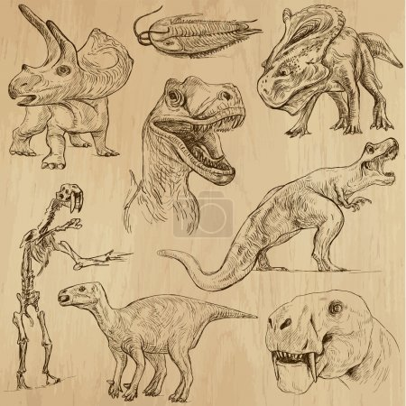 Illustration for DINOSAURS no. 3 - Life in prehistoric times - Collection of an hand drawn illustrations. Description: Each drawing comprise of two layer of outlines, colored background is isolated. - Royalty Free Image