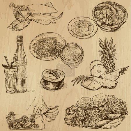 Photo pour Nourriture et boissons dans le monde (paquet vectoriel no 9). Collection d'illustrations dessinées à la main (originaux, aucun tracé). Chaque dessin comprend deux couches de contours, le fond coloré est isolé . - image libre de droit