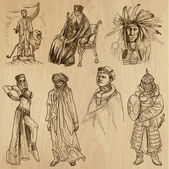 People and Natives around the World (vector pack no19) Collection of an hand drawn illustrations (originals) Each drawing comprises of two layers of outlines the colored background is isolated