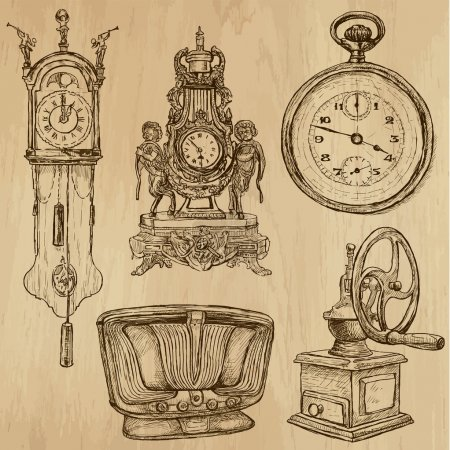old objects no.5 - hand drawn collection