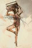 Hip - Hop Geisha Hand drawn vector