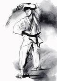 Karate - kézzel rajzolt (kalligrafikus) vektor