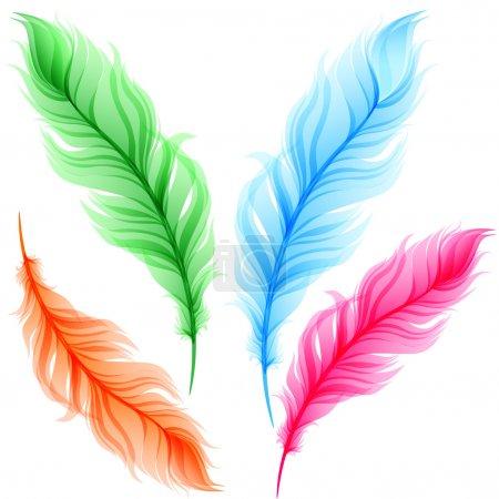 Illustration pour Ensemble de plumes transparentes colorées - image libre de droit