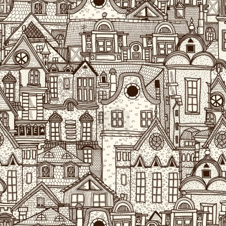 Illustration for Hand-drawn seamless pattern with old town - Royalty Free Image