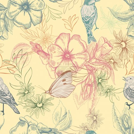 Photo for Spring pattern with butterflies and birds on apple flowers, - Royalty Free Image