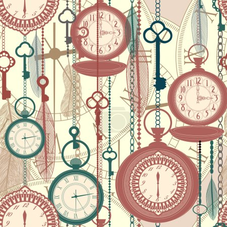 Vintage seamless pattern with watches, feathers and keys