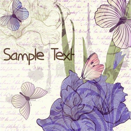 Ilustración de Fondo Grunge retro con gladiolos flores y mariposas - Imagen libre de derechos
