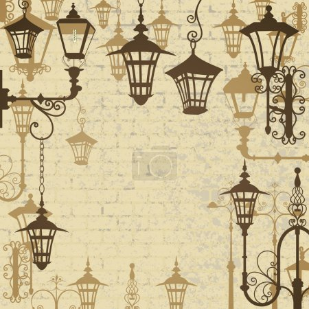 Old town background with wrought lanterns